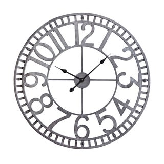 Utopia Alley Manhattan Industrial Wall Clock, Analog, Pewter, 32""