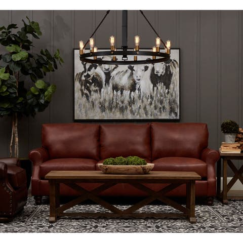 Winston Leather Down-blend Fill Oversized Sofa by Avenue 405
