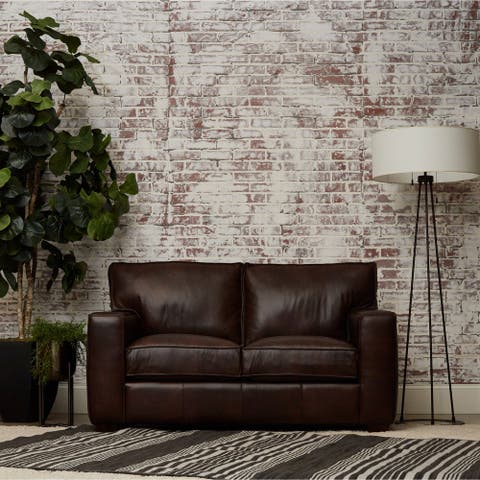 Drake Leather Down Blend Loveseat by Avenue 405