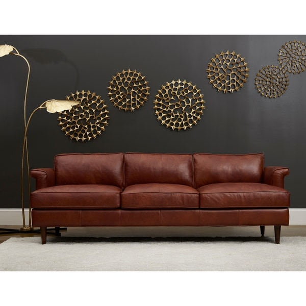Shop Malcolm Leather Down Blend Sofa By Avenue 405 Free