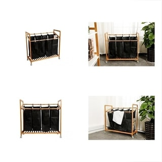 Mosa Natural Bamboo Laundry Sorter Cart Mobile 3 Bag Heavy Duty Basket