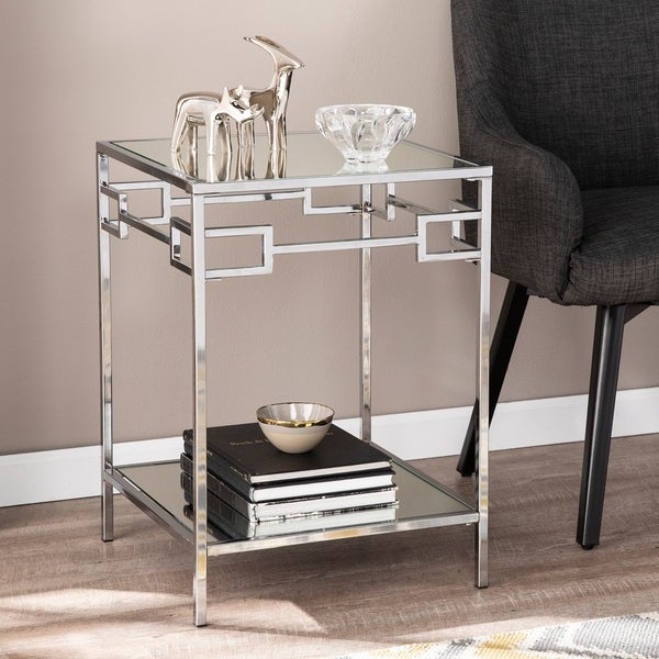 Silver Orchid Hinding Mirrored End Table