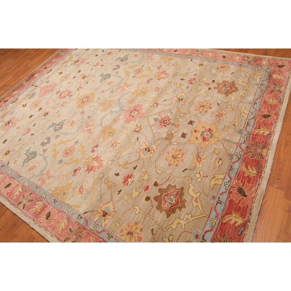 Shop Oushak Floral Tufted Wool Persian Oriental Area Rug