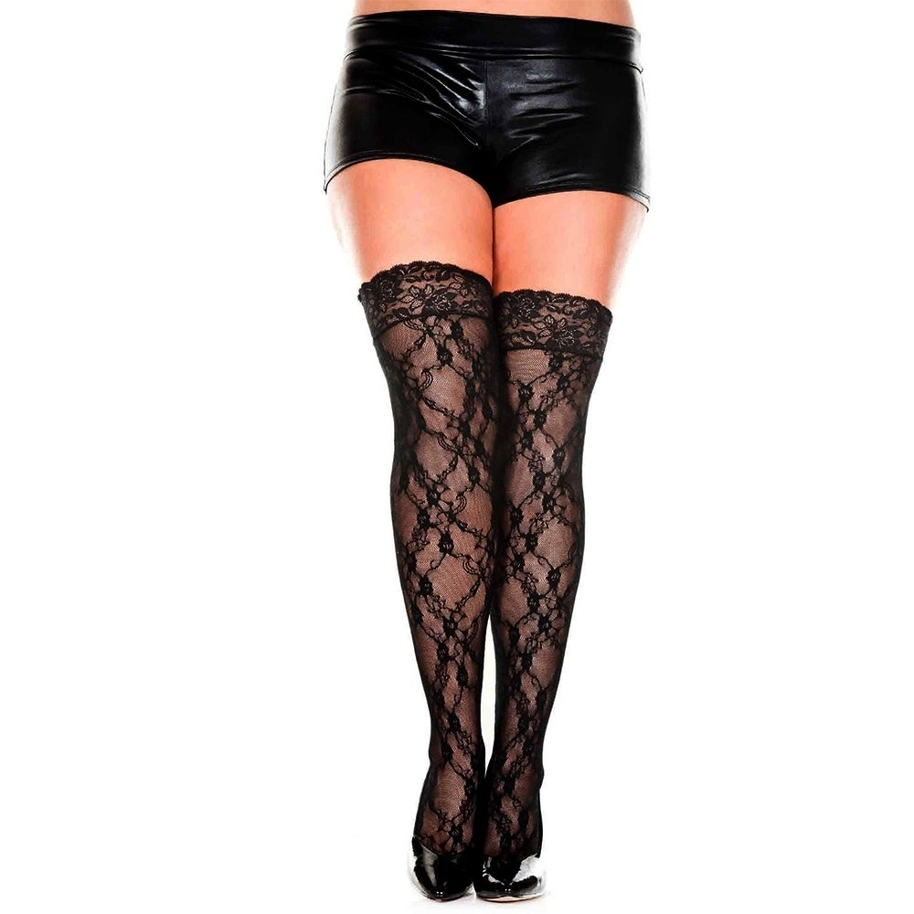 stockings with lace top available in one size /& plus size ML4555 Lace thigh hi