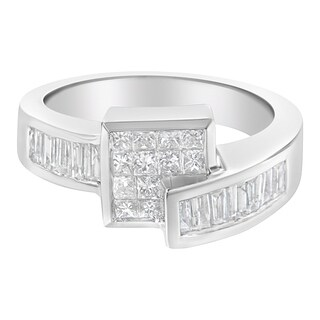 14K White Gold 1 1/3 ct. TDW Princess and Baguette-cut Diamond Ring (G-H, SI2-I1)