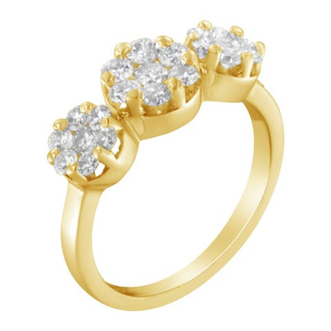 14K Yellow Gold 1 1/4ct TDW Round-cut Diamond Cluster Ring (H-I, SI2-I1)