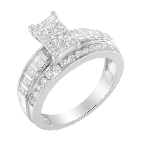 14k White Gold 1ct TDW Round, Princess, and Baguette Cut Diamond Bar Center Ring (H-I, SI2-I1)