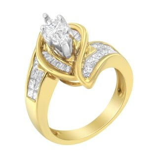 14K Yellow Gold 1 1/4ct TDW Princess, Baguette, and Pie cut Diamond Marquise Shaped Ring (G-H, SI1-SI2)