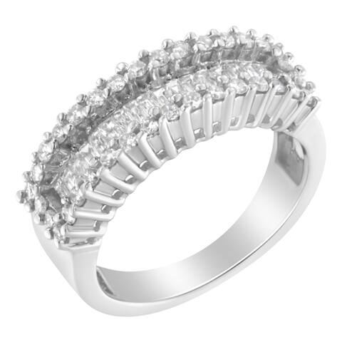 14K White Gold 1ct. TDW Round and Baguette Diamond Ring (SI1-SI2, H-I)