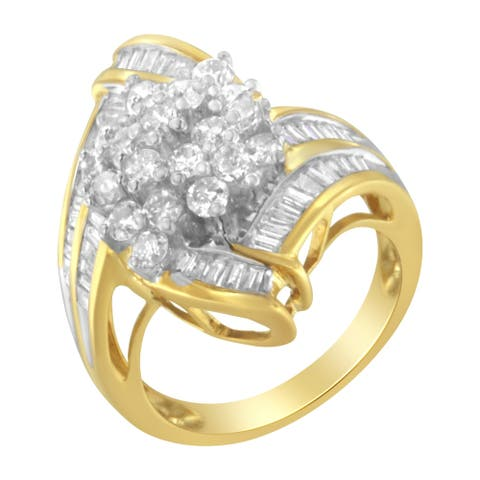 10K Yellow Gold 2.0ct TDW Round and Baguette Diamond Swirl Ring (J-K, I2)