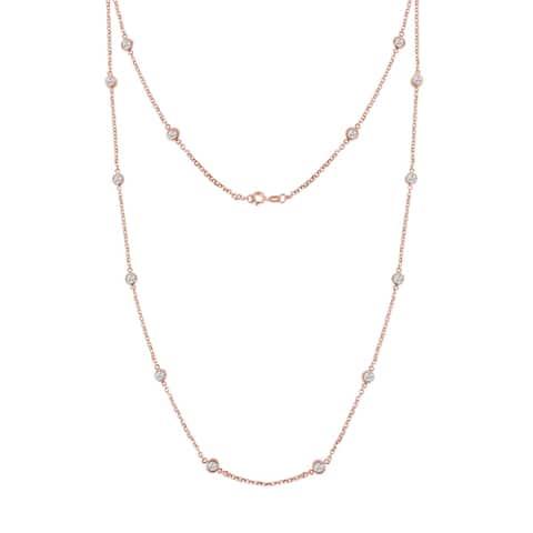 Sterling Silver 1ct. TDW Bezel-Set Diamond Station Necklace (J-K, I1-I2)