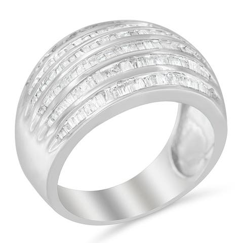Sterling Silver 1ct. TDW Multi-row Baguette Diamond Band cocktail Ring (H-I, I2-I3)