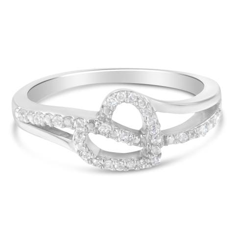 Sterling Silver 1/8ct TDW Round Cut Diamond Heart and Ribbon Accent Ring (I-J, I2-I3)