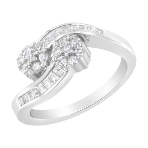 14K White Gold 1/2ct TDW Round and Baguette Diamond Bypass Ring (H-I, I1-I2)