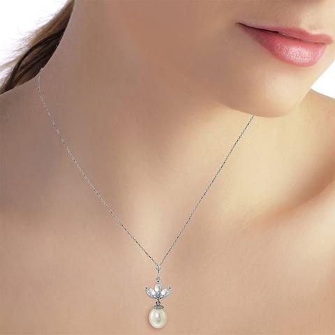 4.75 Carat 14K Solid White Gold Necklace pearl Aquamarine