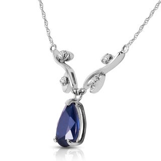 1 52 Carat 14K Solid White Gold Necklace Natural Diamond Sapphire
