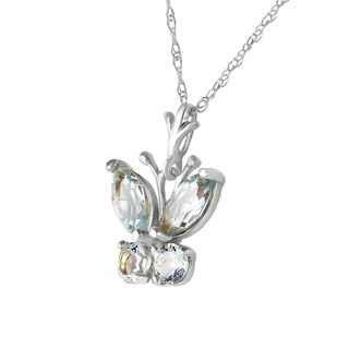 0 6 CTW 14K Solid White Gold Butterfly Necklace Aquamarine