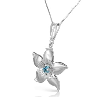0 1 Carat 14K Solid White Gold Flower Necklace Natural Blue Topaz