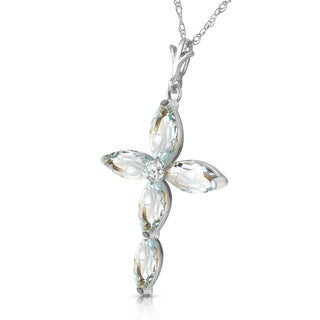 Link to 14K Solid White Gold Necklace with Natural Diamond & Aquamarines Similar Items in Necklaces