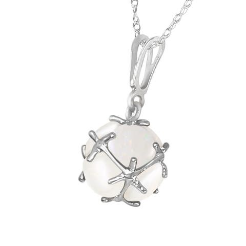 14K Solid White Gold Necklace with Natural Opals
