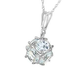 Link to 14K Solid White Gold Necklace with  Natural Aquamarines Similar Items in Necklaces
