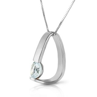 Link to 14K Solid White Gold Modern Necklace with  Natural Aquamarine Similar Items in Necklaces