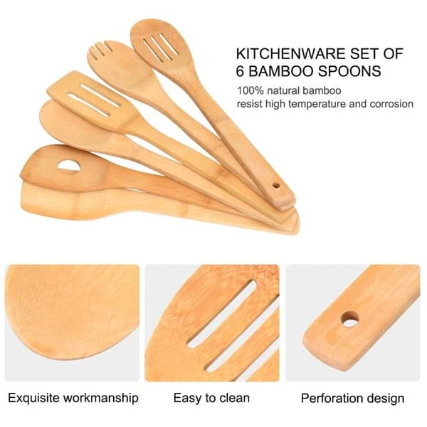 Shop Mosa Natural Bamboo Cooking Serving Utensils Sets 6 ...