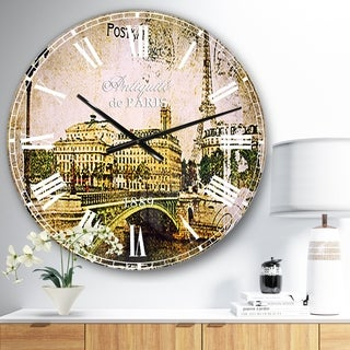 Designart 'Vintage Paris' Abstract Cityscape Wall CLock