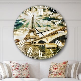 Designart 'Paris Eiffel Towerand Iena Bridge' Cityscape Photo Wall CLock