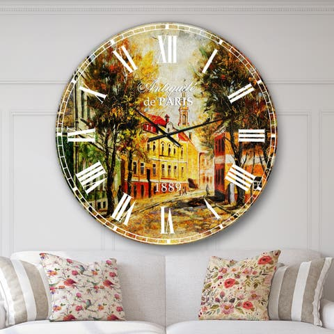 Designart 'Ancient Vitebsk in Autumn' Landscape Large Wall CLock