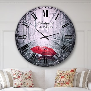 Designart 'Eiffel View from Paris Street' Cityscape Photo Large Wall CLock