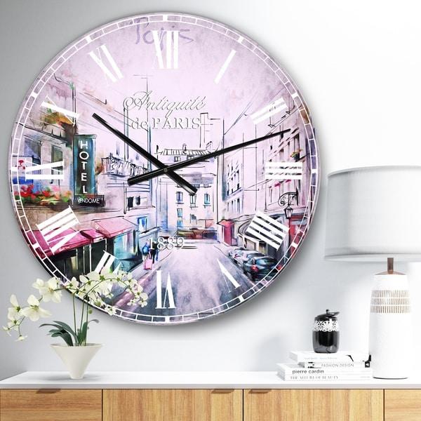 Designart 'Paris Illustration' Cityscape Digital Large Wall CLock