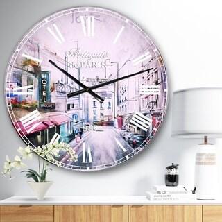 Designart 'Paris Illustration' Cityscape Digital Oversized Metal Clock