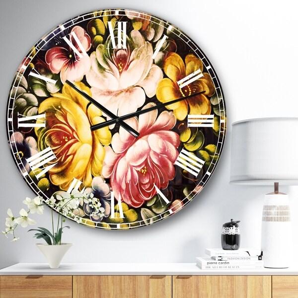 Designart 'Digital Flower Bouquet' Floral Large Wall CLock