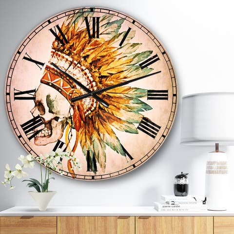 Designart 'Skull with Feathers' Abstract Large Wall CLock