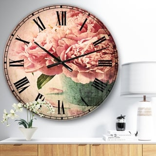 Designart 'Pink Peony Flowers in Vase' Floral Wall CLock
