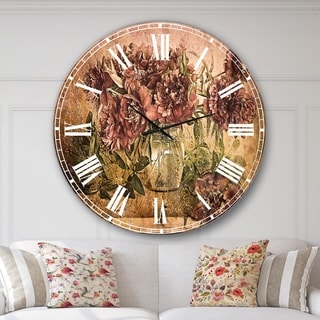 Designart 'Bouquet of Pink Peonies' Floral Large Wall CLock