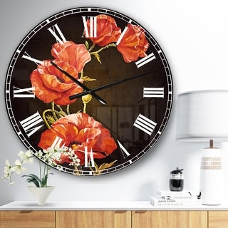 Designart 'Bright Poppies Flower' Floral Large Wall CLock