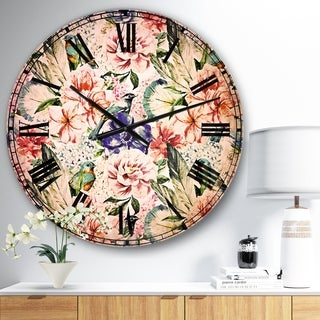 Designart 'Colorful Flowers and Birds Watercolor' Flower Large Wall CLock