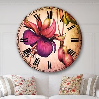 Designart 'Fuchsia Flowers with Green Leaves' Floral Large Wall CLock