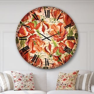 Designart 'Seamless Red Flower Pattern' Floral Large Wall CLock