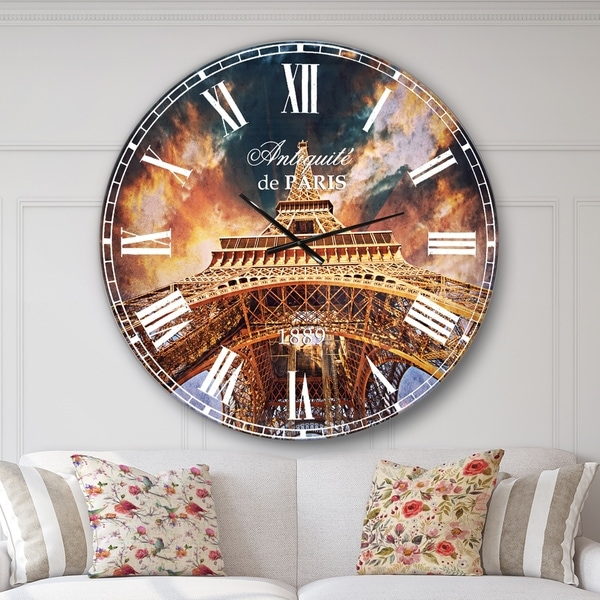 Designart 'Paris Paris Eiffel Towerin Paris with Sunset Colors' Cityscape Wall CLock