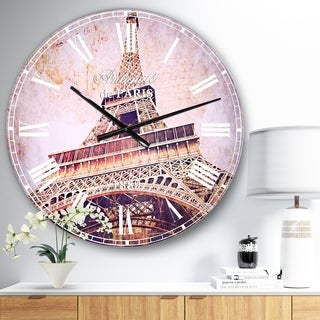 Designart 'Paris Paris Eiffel TowerParis Postcard Design' Cityscape Large Wall CLock