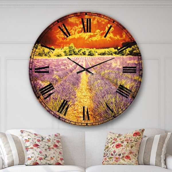 Designart 'Beautiful Lavender Field and Sunset' Floral Large Wall CLock