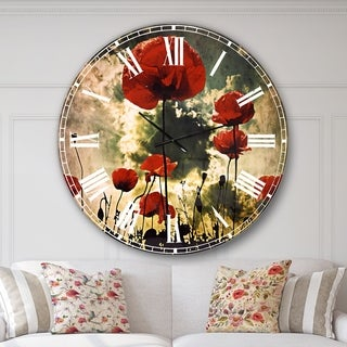 Designart 'Poppies on Thunderstorm Background' Floral Large Wall CLock