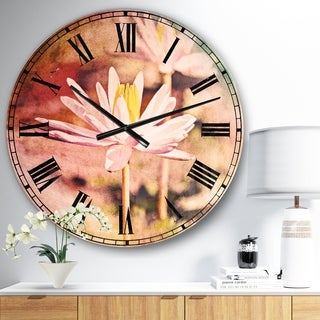 Designart 'Lotus on Abstract Background' Floral Large Wall CLock