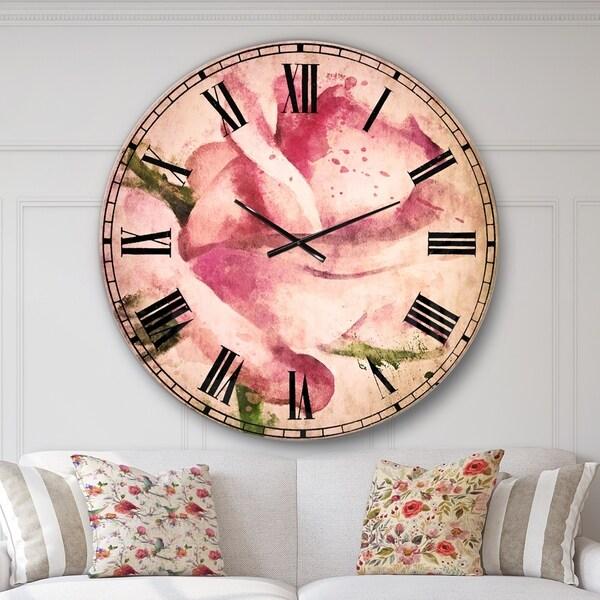 Designart 'Pink Rose Drawing Watercolor' Floral Large Wall CLock