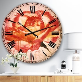 Designart 'Red Rose Hand drawn with Splashes' Floral Large Wall CLock