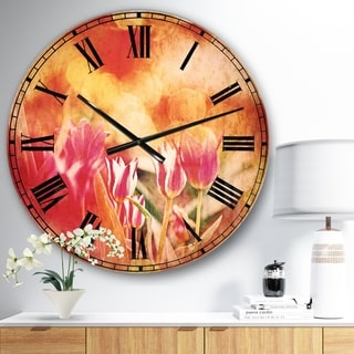 Designart 'Tulips on Abstract Red Background' Floral Large Wall CLock
