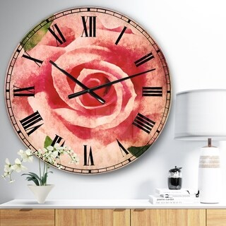 Designart 'Big Pink Rose Flower with Leaves' Floral Large Wall CLock